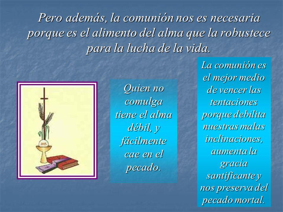 Pero además, la comunión nos es necesaria porque es el alimento del alma que la robustece para la lucha de la vida.
