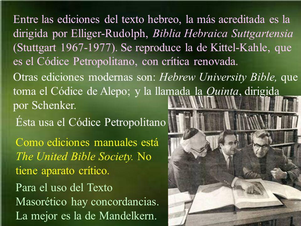 Entre las ediciones del texto hebreo, la más acreditada es la dirigida por Elliger-Rudolph, Biblia Hebraica Suttgartensia (Stuttgart 1967-1977). Se re