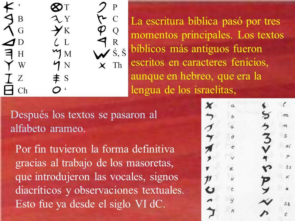 La escritura bíblica pasó por tres momentos principales. Los textos bíblicos más antiguos fueron escritos en caracteres fenicios, aunque en hebreo, qu