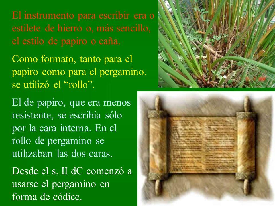 El instrumento para escribir era o estilete de hierro o, más sencillo, el estilo de papiro o caña. Como formato, tanto para el papiro como para el per