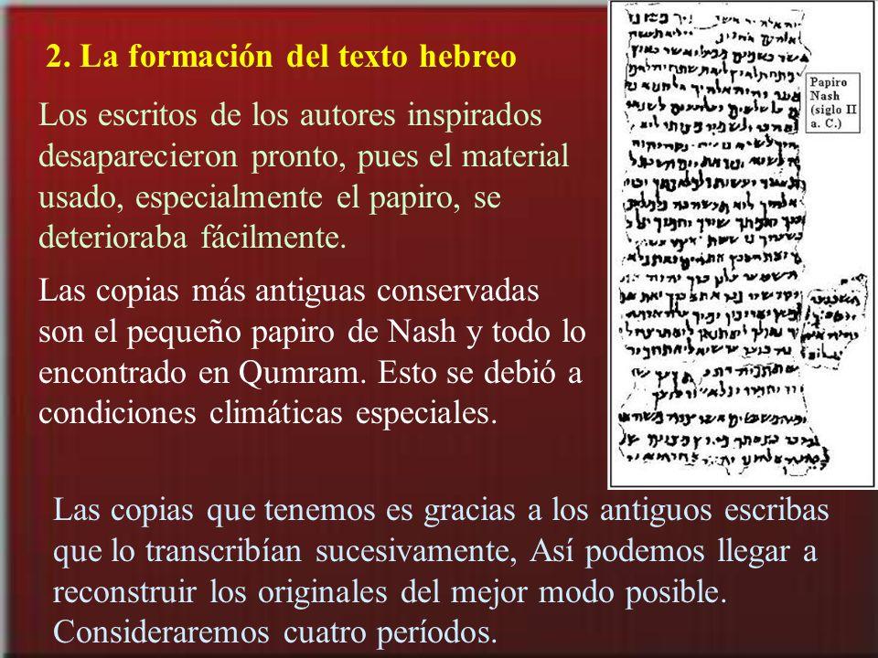 2. La formación del texto hebreo Los escritos de los autores inspirados desaparecieron pronto, pues el material usado, especialmente el papiro, se det