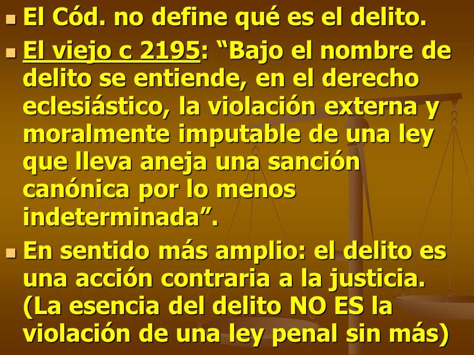 El Cód. no define qué es el delito. El Cód. no define qué es el delito. El viejo c 2195: Bajo el nombre de delito se entiende, en el derecho eclesiást