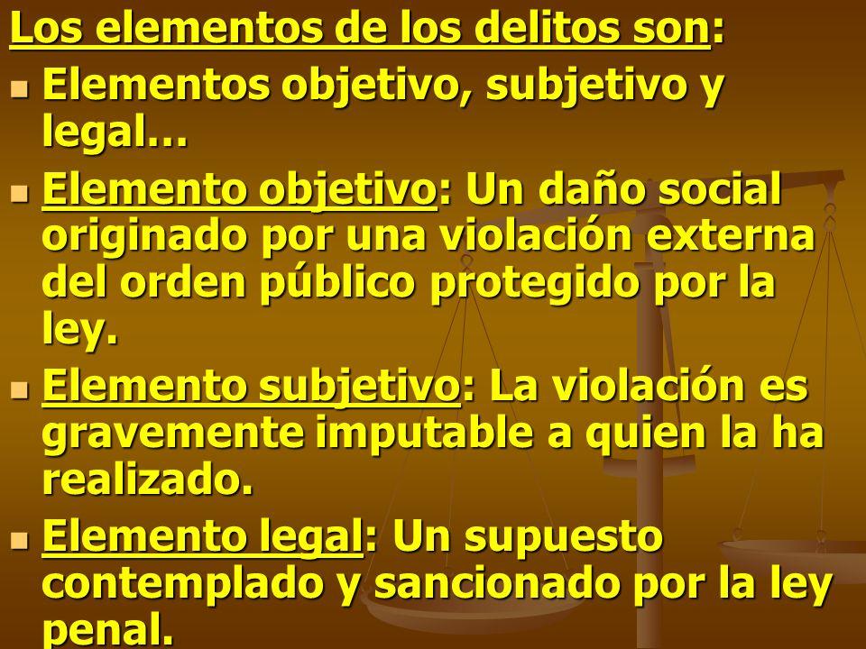 Los elementos de los delitos son: Elementos objetivo, subjetivo y legal… Elementos objetivo, subjetivo y legal… Elemento objetivo: Un daño social orig