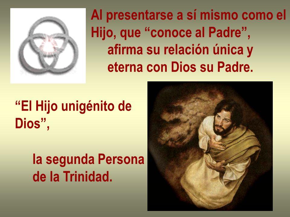 Al presentarse a sí mismo como el Hijo, que conoce al Padre, afirma su relación única y eterna con Dios su Padre. El Hijo unigénito de Dios, la segund