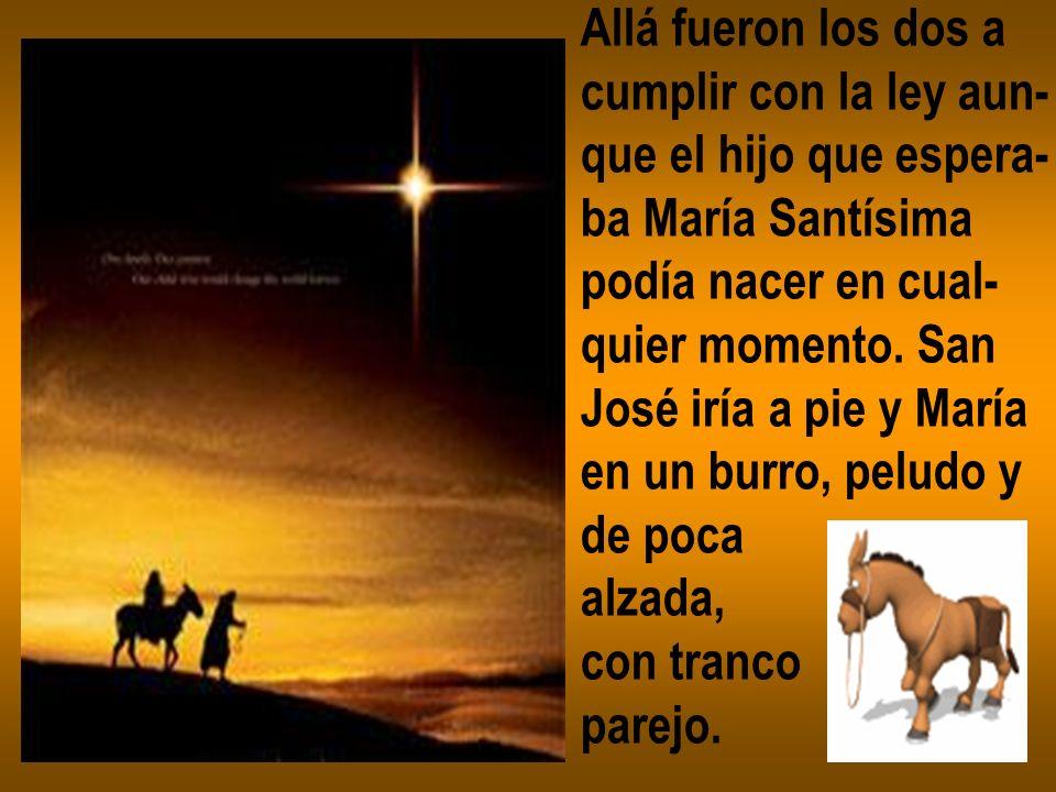 Allá fueron los dos a cumplir con la ley aun- que el hijo que espera- ba María Santísima podía nacer en cual- quier momento. San José iría a pie y Mar