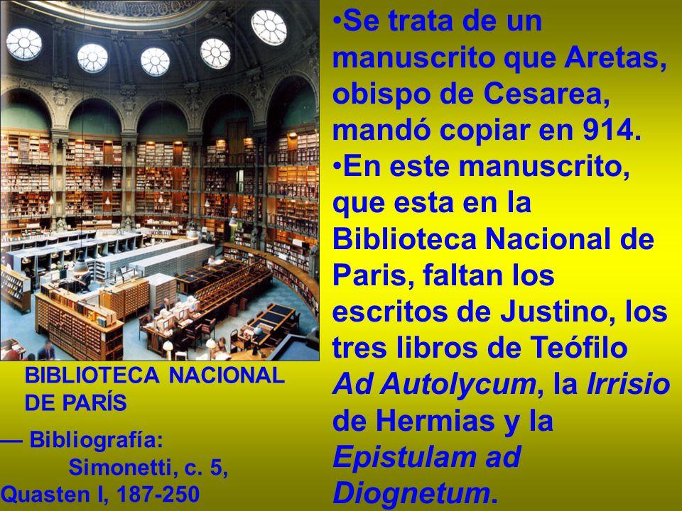 Se trata de un manuscrito que Aretas, obispo de Cesarea, mandó copiar en 914. En este manuscrito, que esta en la Biblioteca Nacional de Paris, faltan