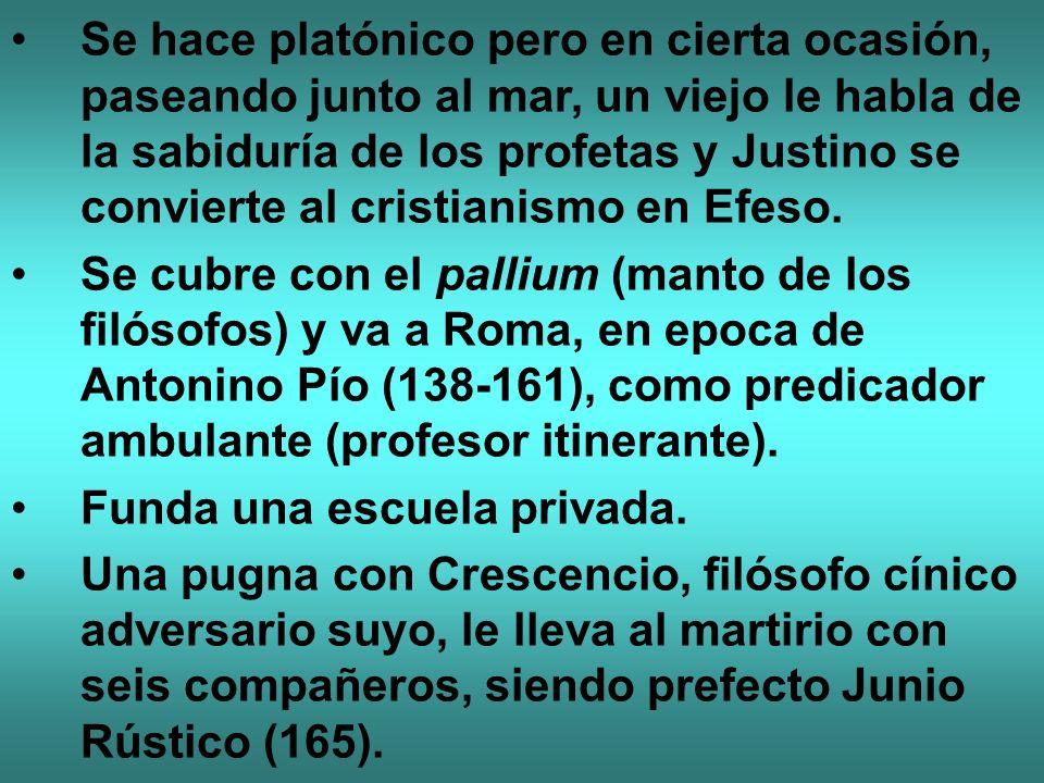 Se hace platónico pero en cierta ocasión, paseando junto al mar, un viejo le habla de la sabiduría de los profetas y Justino se convierte al cristiani