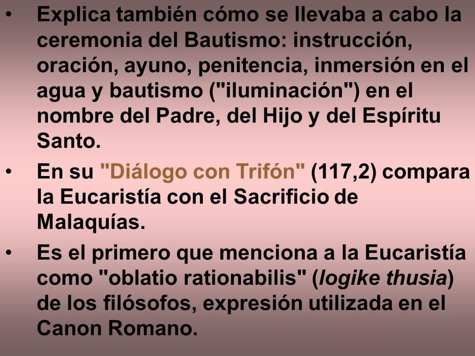 Explica también cómo se llevaba a cabo la ceremonia del Bautismo: instrucción, oración, ayuno, penitencia, inmersión en el agua y bautismo (
