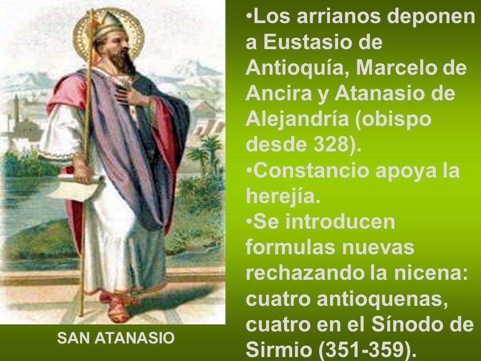 Los arrianos deponen a Eustasio de Antioquía, Marcelo de Ancira y Atanasio de Alejandría (obispo desde 328). Constancio apoya la herejía. Se introduce