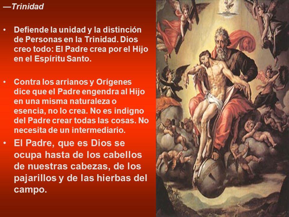 Trinidad Defiende la unidad y la distinción de Personas en la Trinidad. Dios creo todo: El Padre crea por el Hijo en el Espíritu Santo. Contra los arr