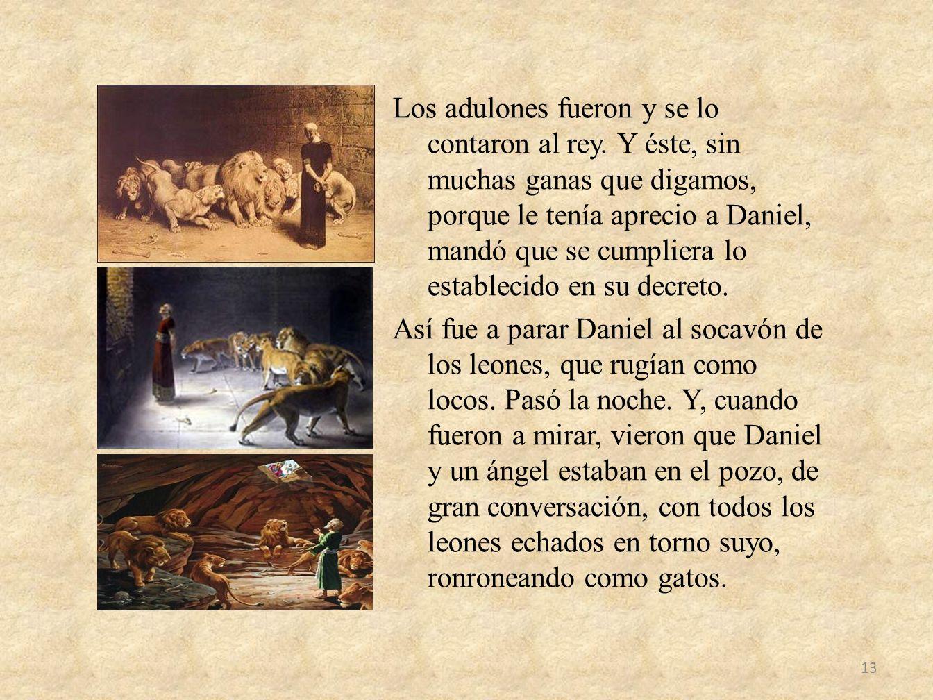 Los adulones fueron y se lo contaron al rey. Y éste, sin muchas ganas que digamos, porque le tenía aprecio a Daniel, mandó que se cumpliera lo estable