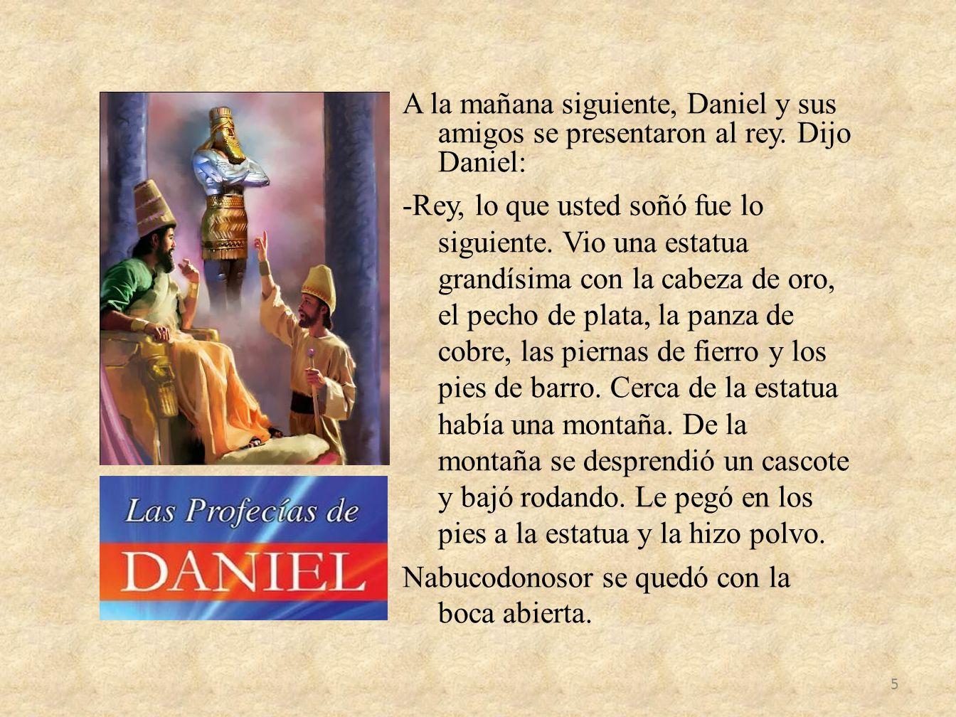 A la mañana siguiente, Daniel y sus amigos se presentaron al rey. Dijo Daniel: -Rey, lo que usted soñó fue lo siguiente. Vio una estatua grandísima co