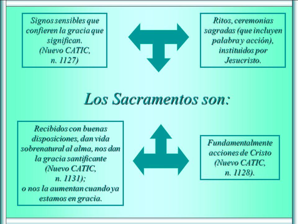 Los Sacramentos son: Signos sensibles que confieren la gracia que significan.