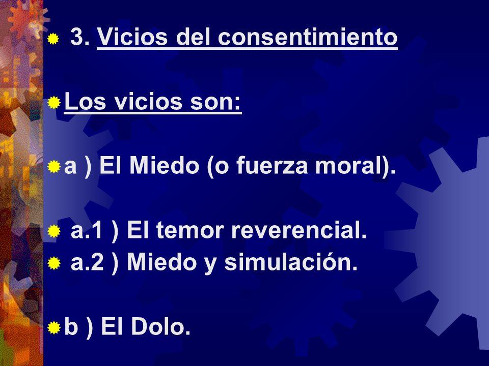 3.Vicios del consentimiento Los vicios son: a ) El Miedo (o fuerza moral).