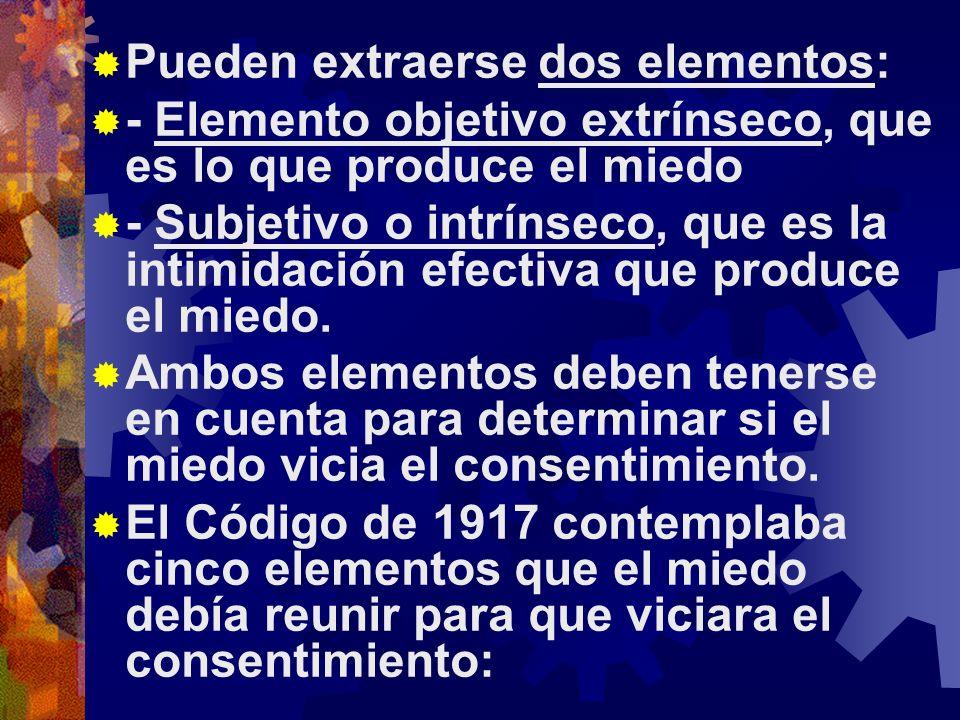 Pueden extraerse dos elementos: - Elemento objetivo extrínseco, que es lo que produce el miedo - Subjetivo o intrínseco, que es la intimidación efectiva que produce el miedo.