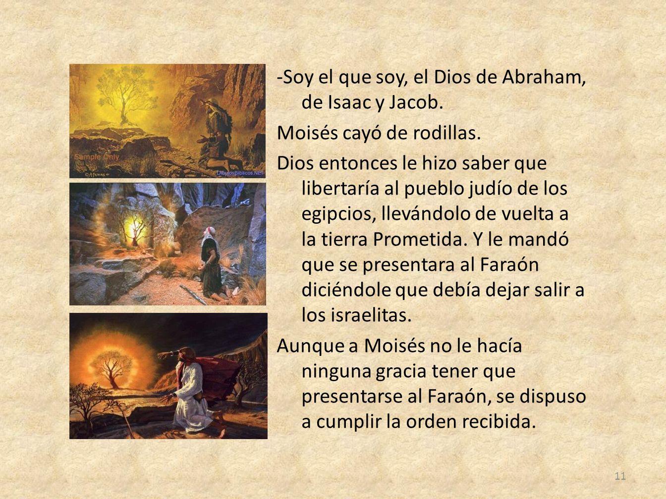 -Soy el que soy, el Dios de Abraham, de Isaac y Jacob. Moisés cayó de rodillas. Dios entonces le hizo saber que libertaría al pueblo judío de los egip