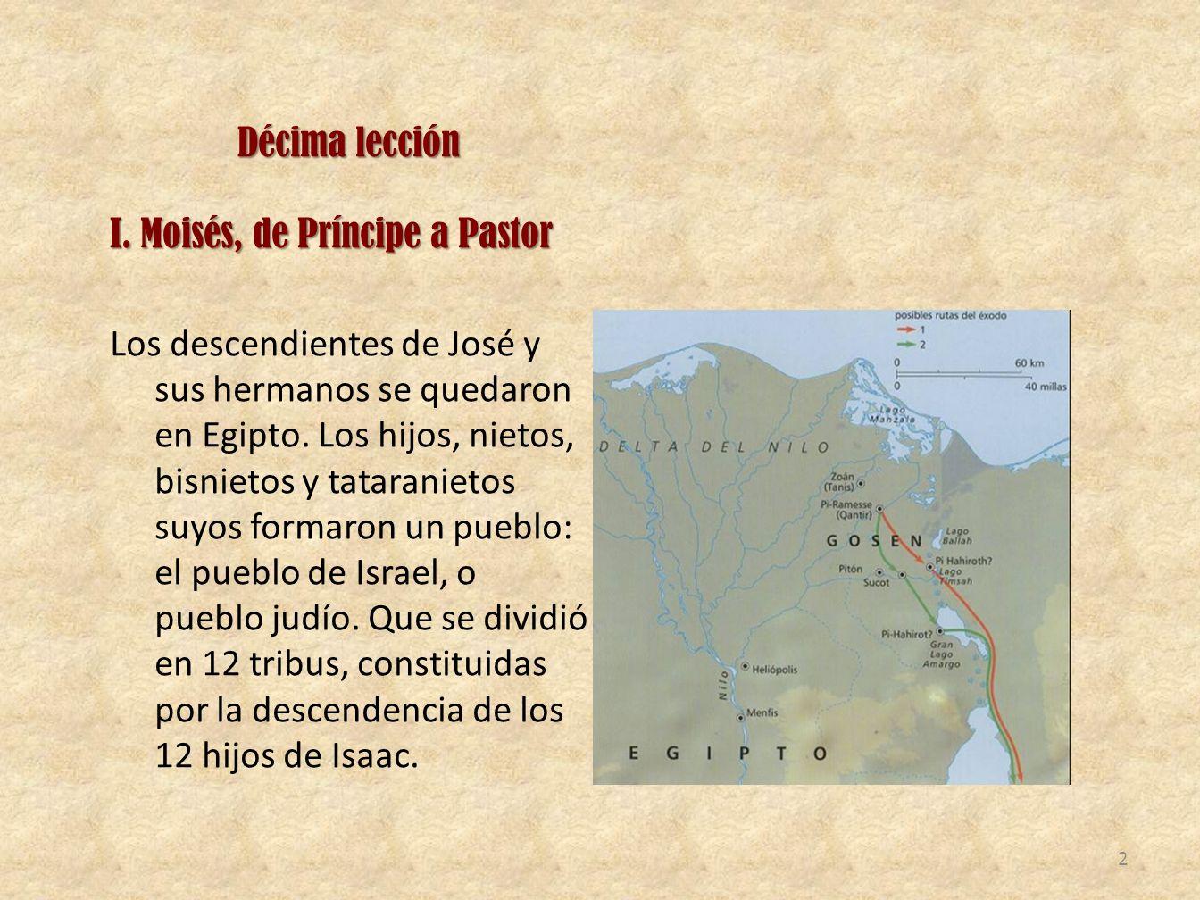Décima lección I. Moisés, de Príncipe a Pastor Los descendientes de José y sus hermanos se quedaron en Egipto. Los hijos, nietos, bisnietos y tatarani