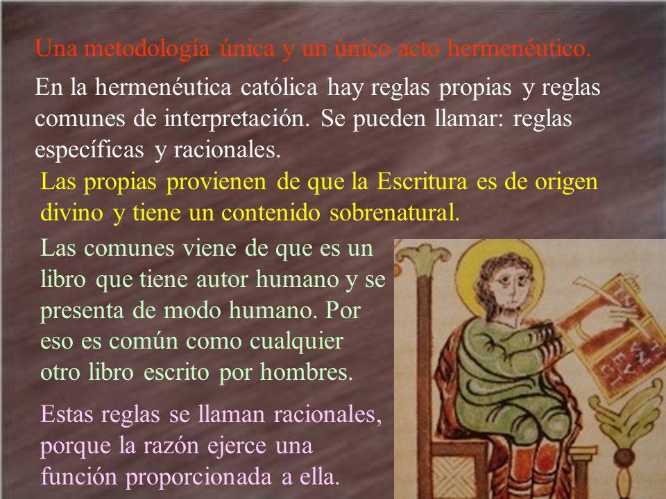 Una metodología única y un único acto hermenéutico. En la hermenéutica católica hay reglas propias y reglas comunes de interpretación. Se pueden llama