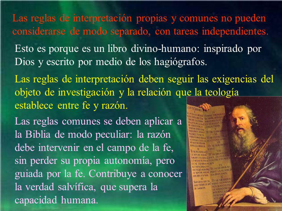 Las reglas de interpretación propias y comunes no pueden considerarse de modo separado, con tareas independientes. Esto es porque es un libro divino-h