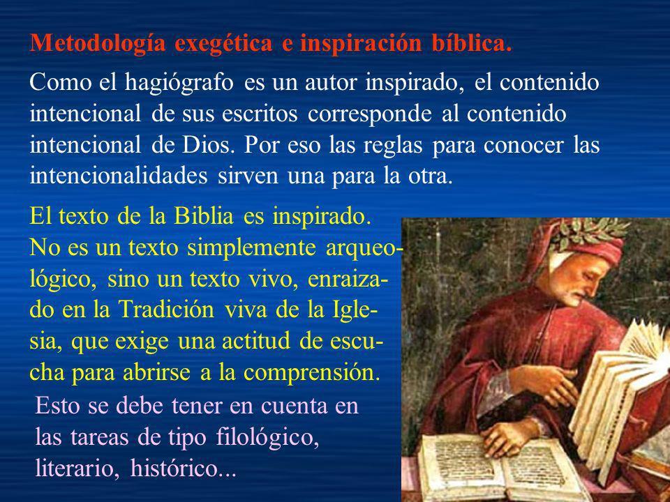 Metodología exegética e inspiración bíblica. Como el hagiógrafo es un autor inspirado, el contenido intencional de sus escritos corresponde al conteni