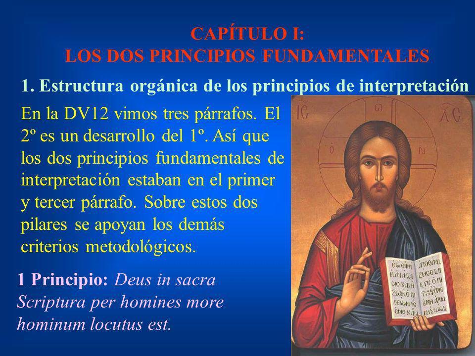 CAPÍTULO I: LOS DOS PRINCIPIOS FUNDAMENTALES 1. Estructura orgánica de los principios de interpretación En la DV12 vimos tres párrafos. El 2º es un de