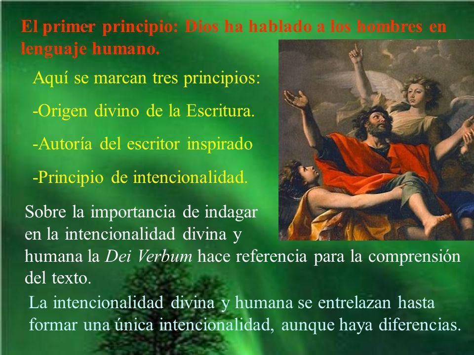 El primer principio: Dios ha hablado a los hombres en lenguaje humano. Aquí se marcan tres principios: -Origen divino de la Escritura. -Autoría del es