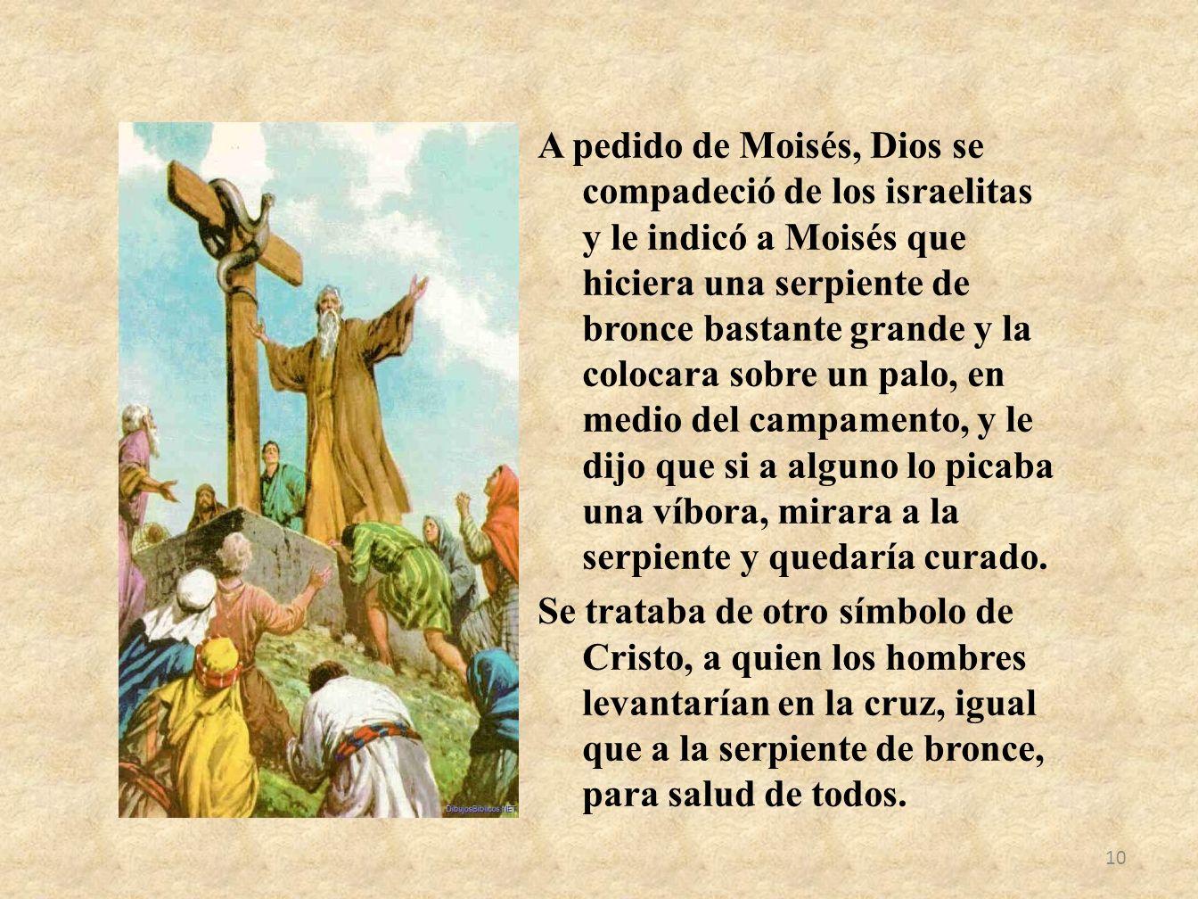 A pedido de Moisés, Dios se compadeció de los israelitas y le indicó a Moisés que hiciera una serpiente de bronce bastante grande y la colocara sobre