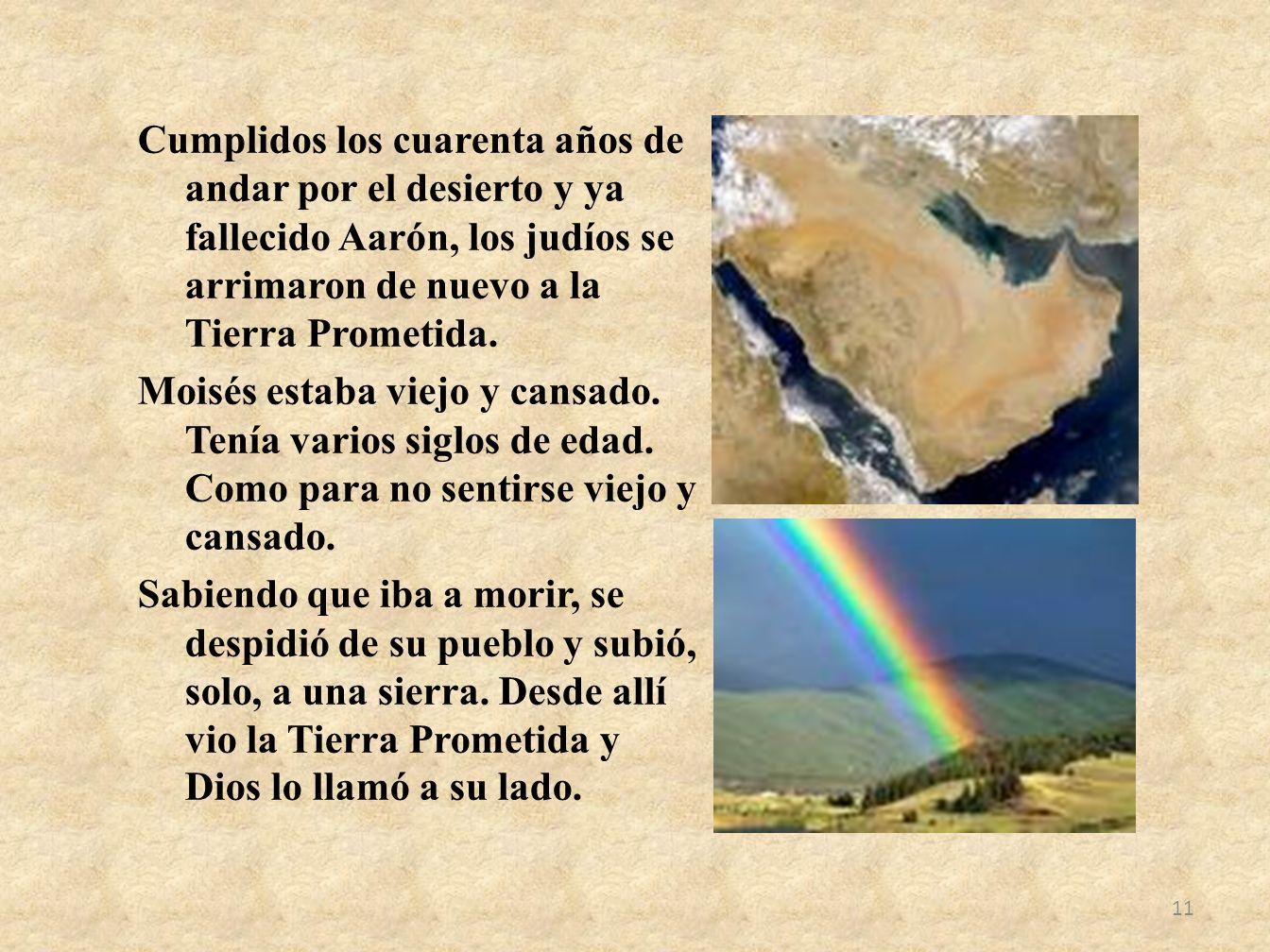 Cumplidos los cuarenta años de andar por el desierto y ya fallecido Aarón, los judíos se arrimaron de nuevo a la Tierra Prometida. Moisés estaba viejo