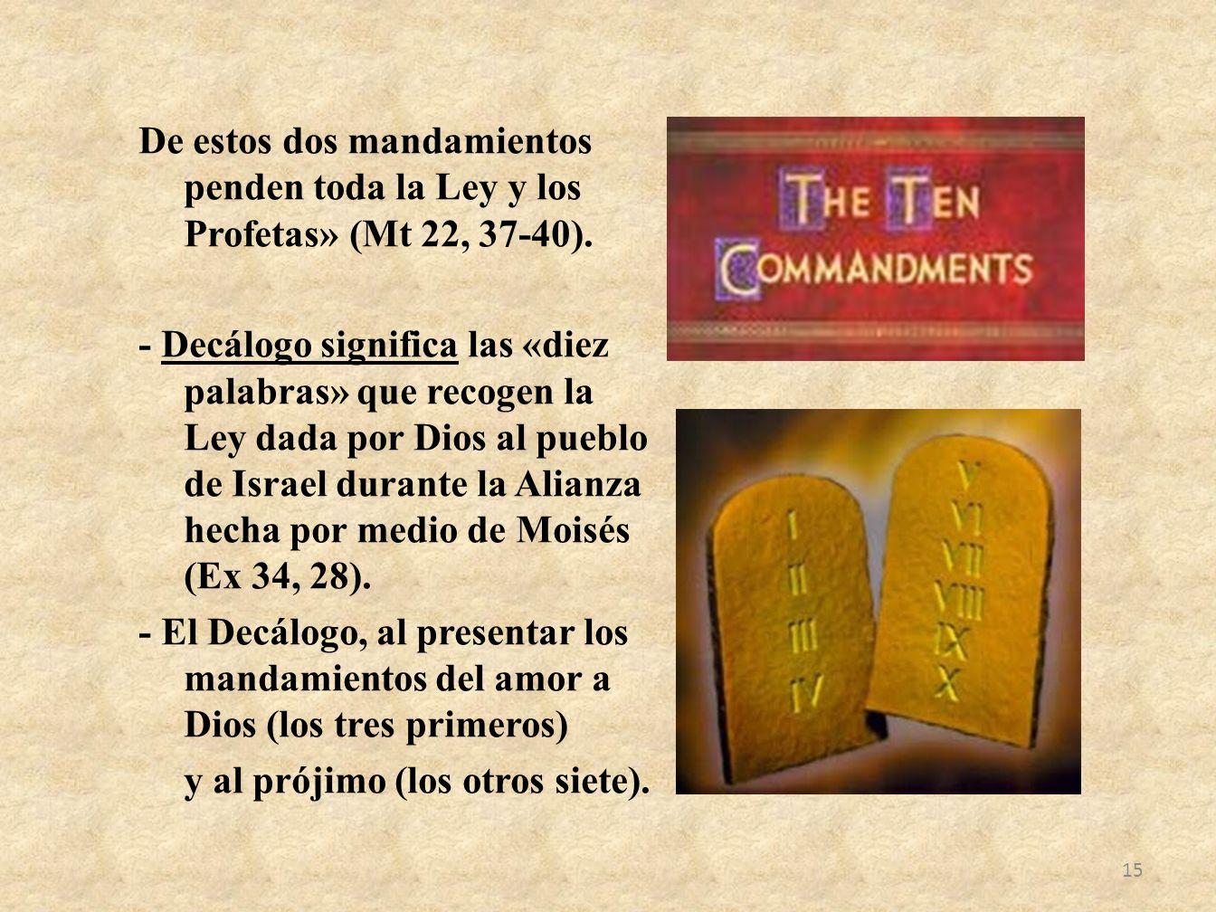 De estos dos mandamientos penden toda la Ley y los Profetas» (Mt 22, 37-40). - Decálogo significa las «diez palabras» que recogen la Ley dada por Dios