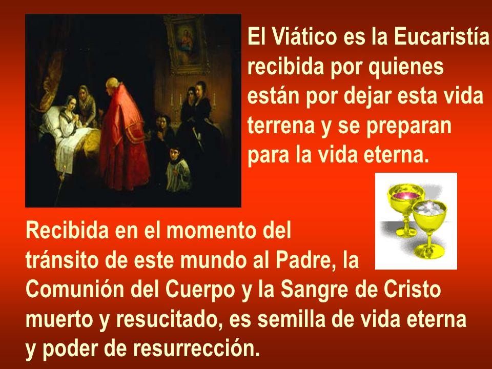 El Viático es la Eucaristía recibida por quienes están por dejar esta vida terrena y se preparan para la vida eterna. Recibida en el momento del tráns