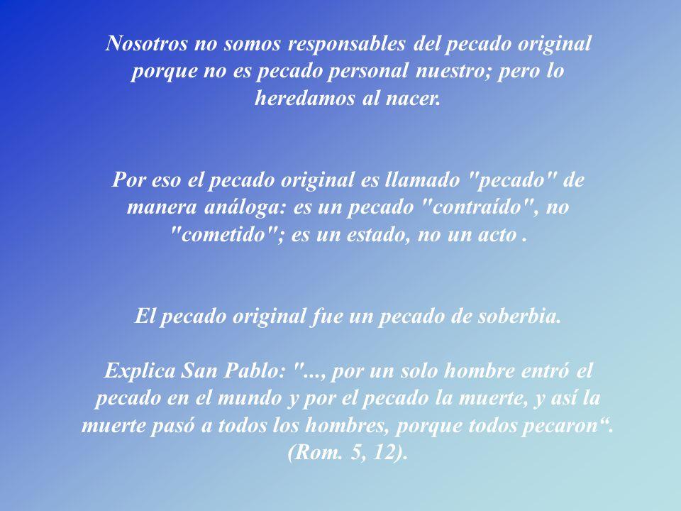 Nosotros no somos responsables del pecado original porque no es pecado personal nuestro; pero lo heredamos al nacer.