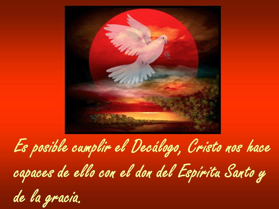 Es posible cumplir el Decálogo, Cristo nos hace capaces de ello con el don del Espíritu Santo y de la gracia.