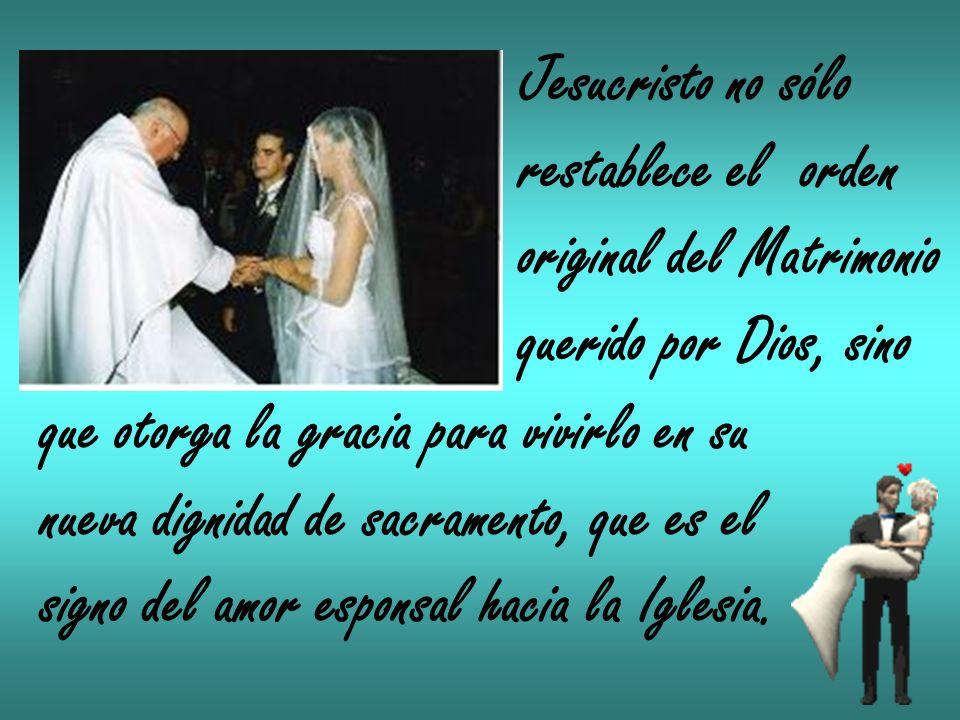Jesucristo no sólo restablece el orden original del Matrimonio querido por Dios, sino que otorga la gracia para vivirlo en su nueva dignidad de sacram