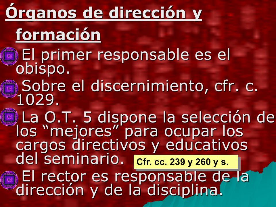 Órganos de dirección y formación El primer responsable es el obispo.