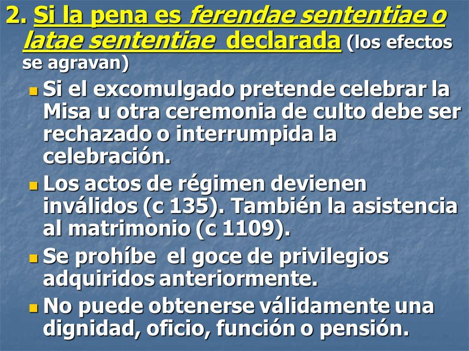 2. Si la pena es ferendae sententiae o latae sententiae declarada (los efectos se agravan) Si el excomulgado pretende celebrar la Misa u otra ceremoni