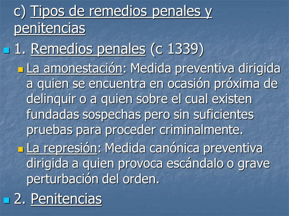 c) Tipos de remedios penales y penitencias 1. Remedios penales (c 1339) 1. Remedios penales (c 1339) La amonestación: Medida preventiva dirigida a qui