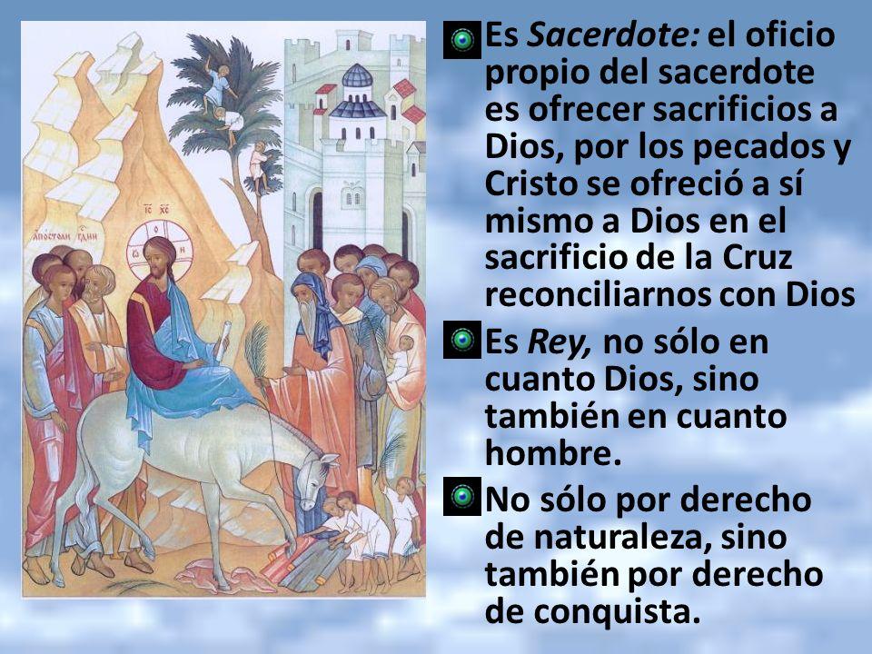 Es Sacerdote: el oficio propio del sacerdote es ofrecer sacrificios a Dios, por los pecados y Cristo se ofreció a sí mismo a Dios en el sacrificio de