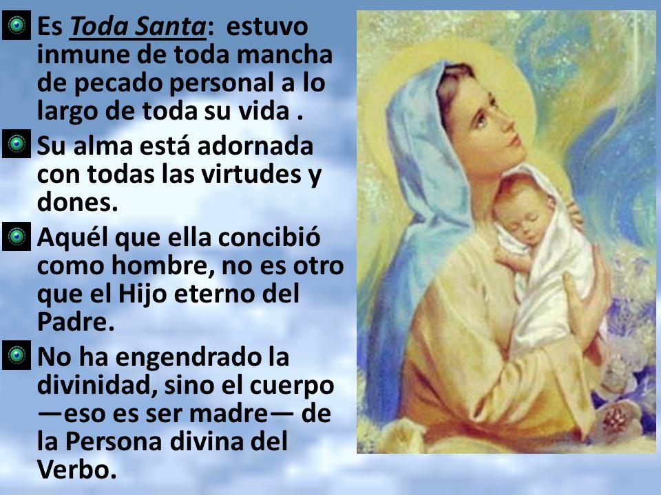 Es Toda Santa: estuvo inmune de toda mancha de pecado personal a lo largo de toda su vida. Su alma está adornada con todas las virtudes y dones. Aquél
