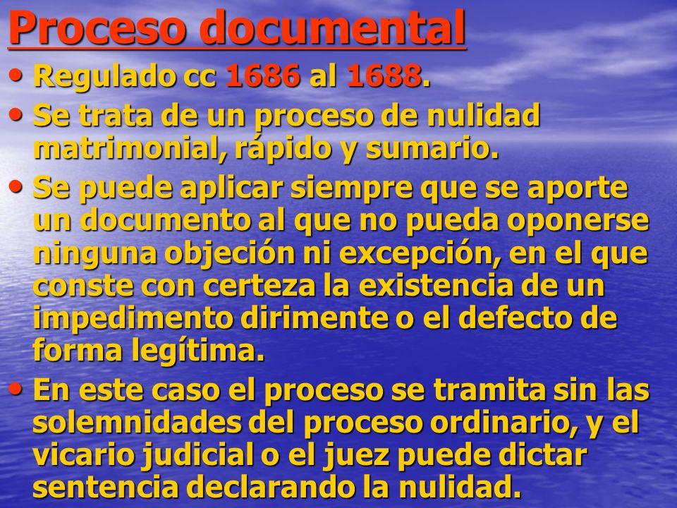 Proceso documental Regulado cc 1686 al 1688. Regulado cc 1686 al 1688.