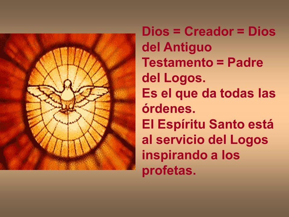 Dios = Creador = Dios del Antiguo Testamento = Padre del Logos. Es el que da todas las órdenes. El Espíritu Santo está al servicio del Logos inspirand