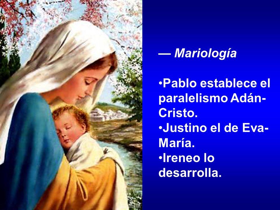 Mariología Pablo establece el paralelismo Adán- Cristo. Justino el de Eva- María. Ireneo lo desarrolla.
