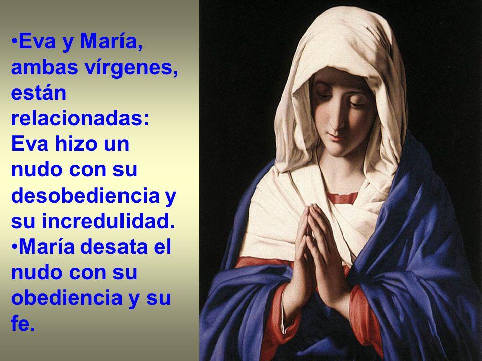 Eva y María, ambas vírgenes, están relacionadas: Eva hizo un nudo con su desobediencia y su incredulidad. María desata el nudo con su obediencia y su