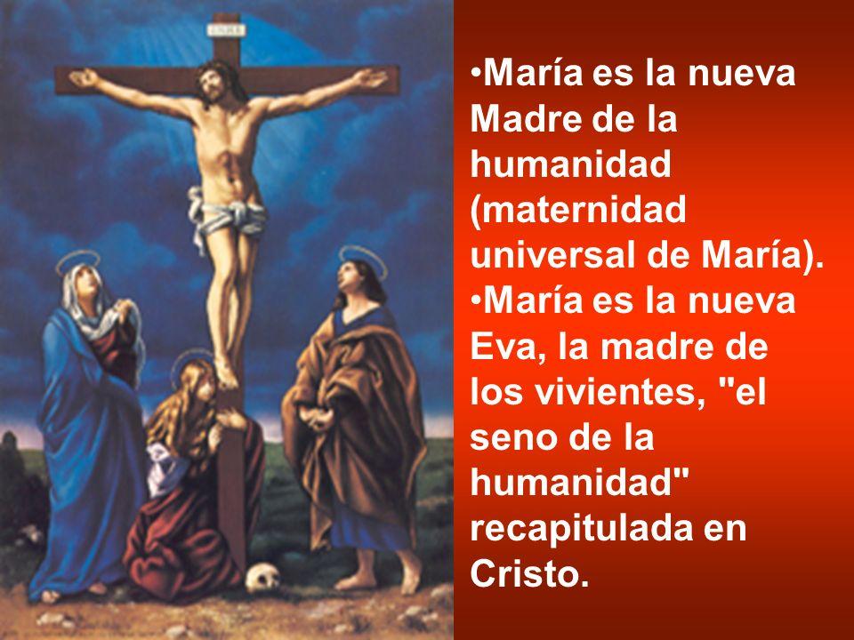 María es la nueva Madre de la humanidad (maternidad universal de María). María es la nueva Eva, la madre de los vivientes,