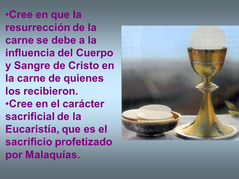 Cree en que la resurrección de la carne se debe a la influencia del Cuerpo y Sangre de Cristo en la carne de quienes los recibieron. Cree en el caráct