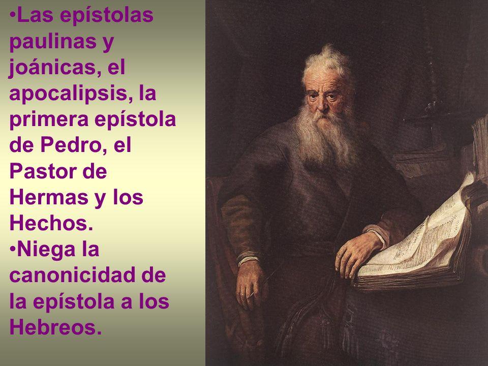 Las epístolas paulinas y joánicas, el apocalipsis, la primera epístola de Pedro, el Pastor de Hermas y los Hechos. Niega la canonicidad de la epístola