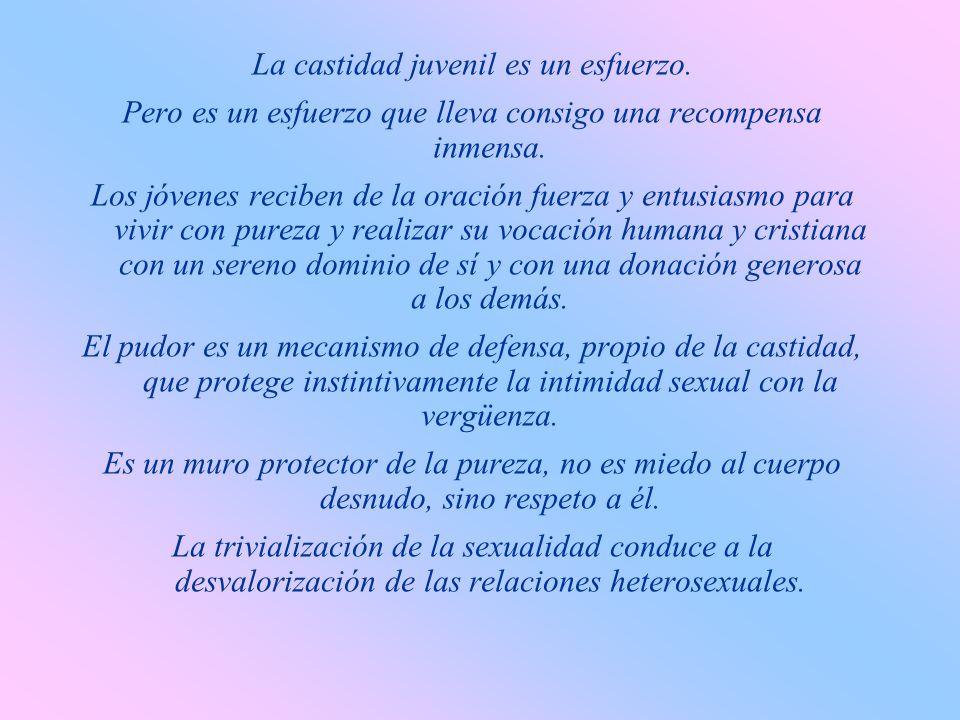 La castidad consiste en el dominio de sí, en la capacidad de orientar el instinto sexual al servicio del amor y de integrarlo en la persona. En los jó