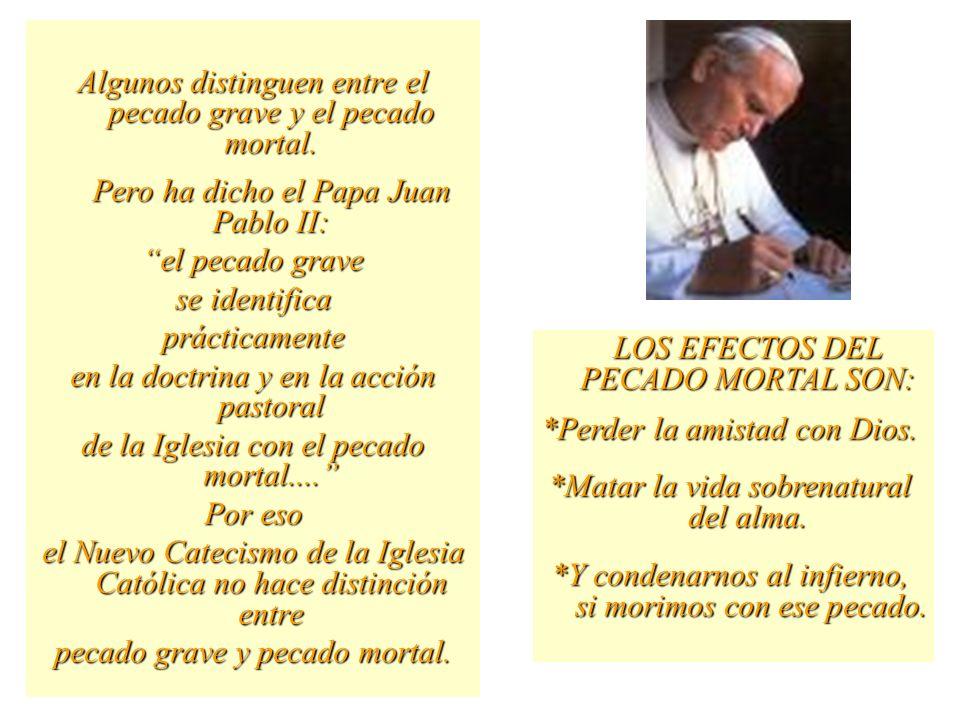 HAY DOS CLASES DE PECADOS: MORTAL Y VENIAL. El pecado es una ofensa a Dios. EL PECADO MORTAL SE DIFERENCIA DEL VENIAL, EN QUE EL MORTAL ES GRAVE Y EL