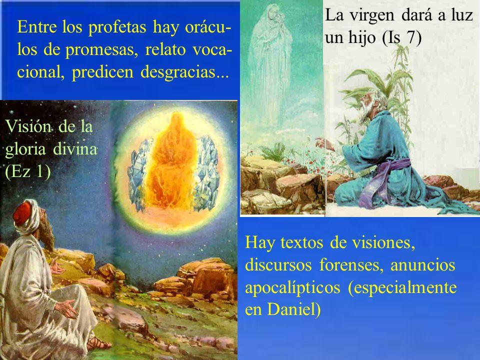 Entre los profetas hay orácu- los de promesas, relato voca- cional, predicen desgracias... La virgen dará a luz un hijo (Is 7) Visión de la gloria div