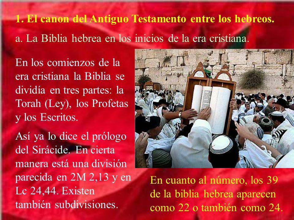 1. El canon del Antiguo Testamento entre los hebreos. a. La Biblia hebrea en los inicios de la era cristiana. En los comienzos de la era cristiana la