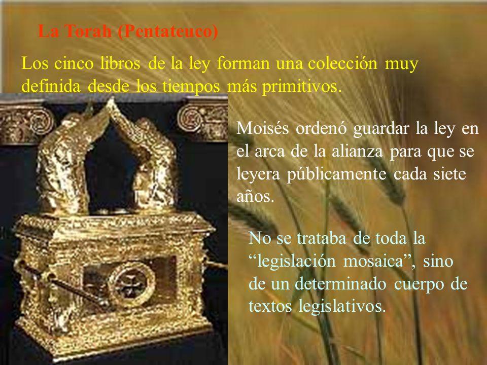 La Torah (Pentateuco) Los cinco libros de la ley forman una colección muy definida desde los tiempos más primitivos. Moisés ordenó guardar la ley en e